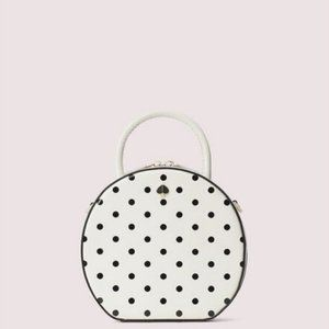 kate spade andi cabana white black dot canteen bag